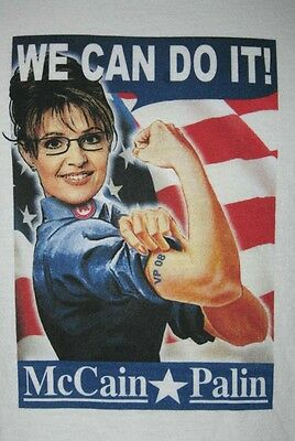 "McCain Palin 2008 Political  ""We Can Do It"" T-Shirt Men's Size Large"