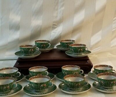 """12 - Tea Cups & Saucers - Emerald Green """"Cabbage Pattern""""  19th Century - Qing"""