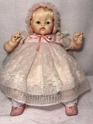 """Madame Alexander Clean 18"""" Kitten doll in pink lace dress & has a new crier.1962"""