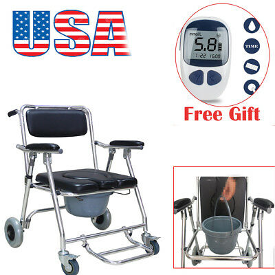 USA 3in1 Aluminum Commode Shower Wheelchair Bathroom Chair on Wheel Toliet Fold