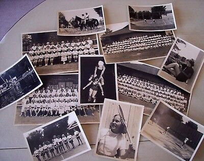 Lot of 12 Vintage 1940's Girls Summer Camp Photos ELY Fairlee VERMONT VT Tennis