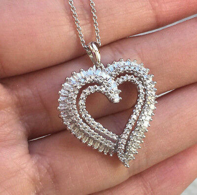 1/2cttw Natural Diamond Heart Pendant Necklace Sterling Silver