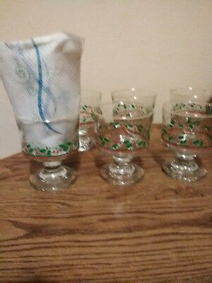 6 Vintage Arby's Libbey Holly Berry Gold Dessert Sherbet Christmas Dishes Glass