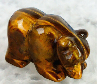 D0413 38x18x25mm Natural Tiger Eye Stone Hand Carved Bear Figurine