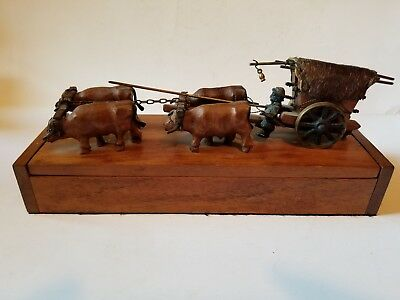Vintage Wood Carved Oxen Team Tinker Wagon on Wooden Hinged Box