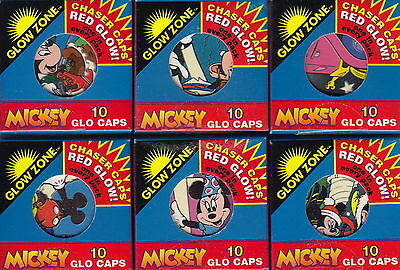 MICKEY - Mickey Mouse Glo Caps ~ 6 x Sealed Packs (10) by Glow Zone [1995] #NEW