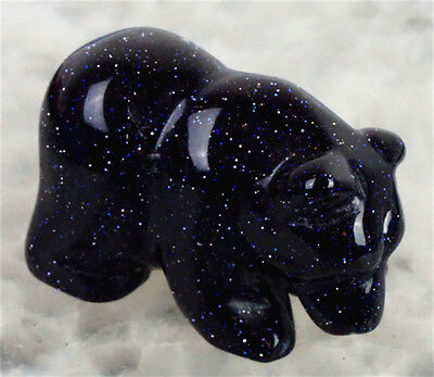 D0410 38x19x23mm Blue Sand Stone Hand Carved Bear Figurine