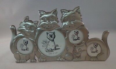 """Cat Picture Frame Metal Cats Pets 7"""""""