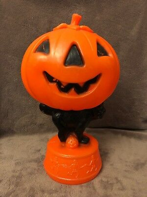 Halloween Blow Mold Black Cat Holding Jack O Lantern Pumpkin Skeletons 13-1/2""