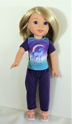 Unicorn Top Pants Sandals For 14 In Wellie Wishers American Girl Doll Clothes