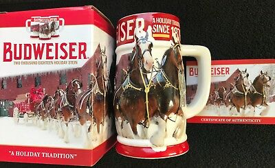 """2018 Budweiser Holiday Christmas Stein """"A Holiday Tradition"""" Limited Edition."""