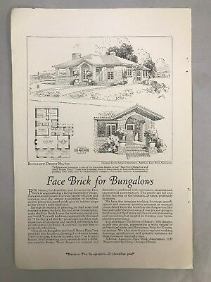 Face Brick for Bungalows Ad October 1921 National Geographic Magazine Vintage