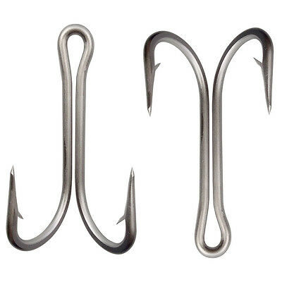 50pcs Double Fishing Hook Saltwater Frog Toad Stainless Steel Double Hooks