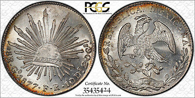 Mexico 1877-Go FR Silver 8 Reales PCGS MS63