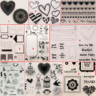 Heart Shape Transparent Silicone Clear Stamps DIY Scrapbook Embossing Card Art