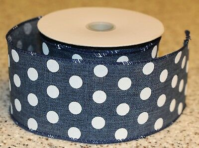 "CANVAS DOT RIBBON ROLL, Navy Blue White Dots, 2.5"" x 10 yd Wired Edge"