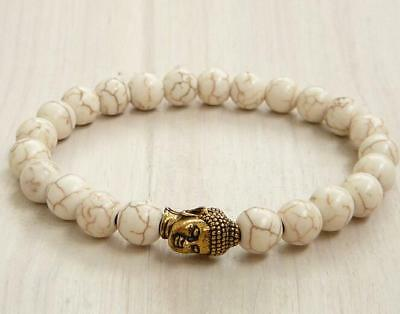 8mm Howlite Bracelet 7.5inches Lucky Bless Healing Stretchy Bead Reiki Wrist