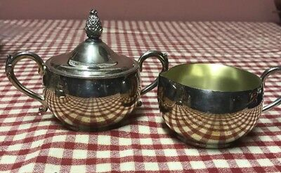 Vintage Wm Rogers Silverplate Covered Sugar & Cream Set #82609