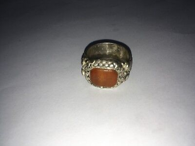 Antique Old Islamic Silver Ring With Inscription Text & Stone Ottoman 8.7 Grams