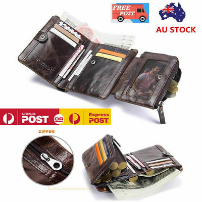 Men's Large Capacity Top ITALIAN Genuine Leather Trifold Wallet Zip Luxurious