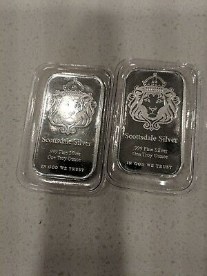"Lot Of 2 Scottsdale 1 Troy Oz ""the One"". .999 Fine Silver Bars 2 Troy Oz"