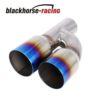 "Exhaust Dual Outlets Pipe Tip Polished Stainless Steel 2.5""In3.5""Out Blue Burnt"