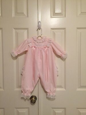 VTG - Pink Frilly Romper - Ruffled Lace Bottom - 6 months