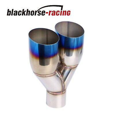"1PC Polished Stainless Steel 2.5""X 3.5""Exhaust Single layer Slant Tip Blue Burnt"