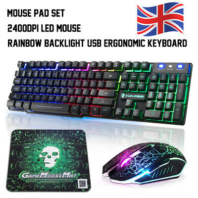 b5b6c1da3b2 T6 Rainbow Backlight USB Ergonomic Gaming Keyboard+2400DPI Mouse Set For  Laptop