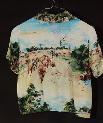 early silky vintage hawain shirt,image cattle droving in outback,extremely rare