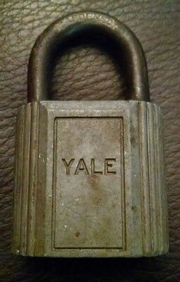 Unique Vintage Antique Yale Silver Metal Padlock Lock Missing Key Made In Usa