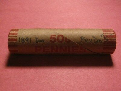 """Sealed Wheat/indian Penny Roll With 1891 Dime & Rev Dime """"s"""" End Coins"""