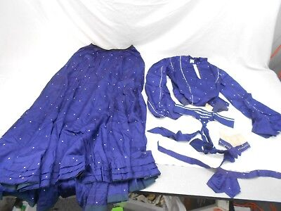 Antique, Late 1800's Victorian Two Piece Outfit, Navy Blue