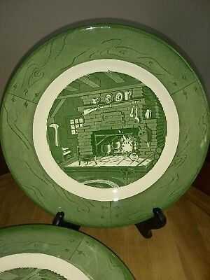 """Vintage Colonial Homestead by Royal Green 9 7/8"""" China Dinner Plate 5 Pieces"""