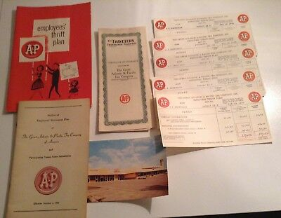 """Rare!! A&p"""" Supermarket Employee Thrift /retirement Plans& Insurance Policy $$$$"""