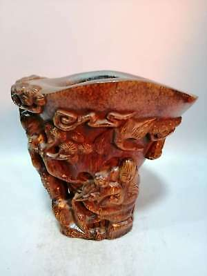 China Exquisite Hand-carved Teaching under Pines carving OX Horn cup CH0006