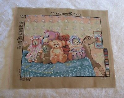 VINTAGE COLLECTION D'ART No.11.311 TEDDY BEARS  UNWORKED TAPESTRY SZ. 50 X 60 CM