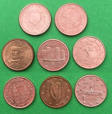 EUROPE:- A selection of 8 different EU countries, 1 cent coins. AP7190