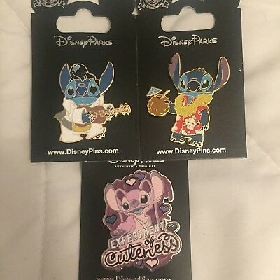 Lot 3 Disney Pins Lilo & Stitch Hawaii Elvis Guitar Angel Experiment of Cuteness
