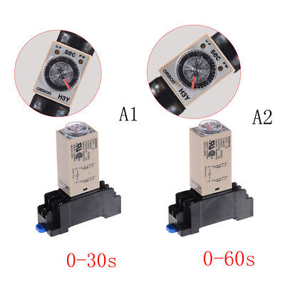 220V H3Y-2 Power On Time Relay Delay Timer 0-30s/60s DPDT & Base Socket#S