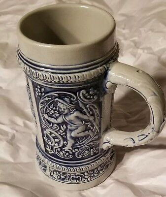 Vintage Gerz Germany Stoneware Beer Stein Mug Tankard 0.5 L Raised Relief Blue