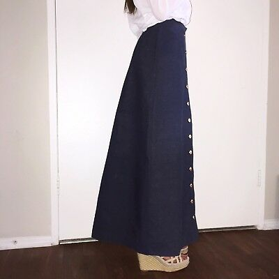 Authentic vintage 70s long heavy denim maxi skirt button up anchors navy