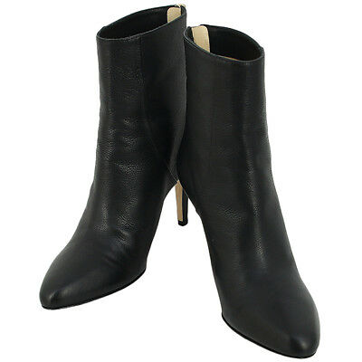 bd12296c5a07c New Auth Jimmy Choo Ankle Bootie Calf-Leather Black 38 Size Heel Boots Women