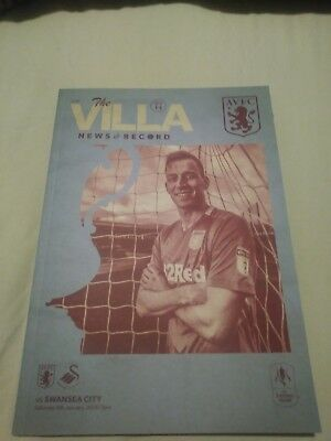 Aston Villa V Swansea City Fa Cup 3Rd Round 5Th January 2018 Offical Programme