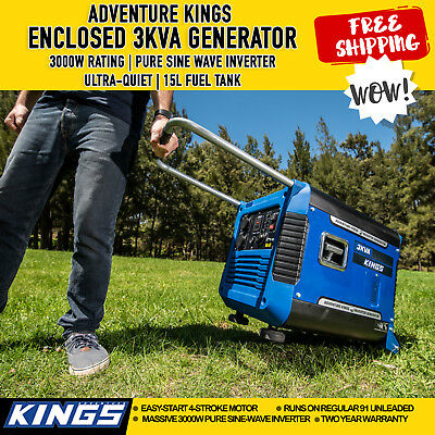 New Portable Petrol Pure Sine  Inverter Generator 3kVA  Rated 3000W Power