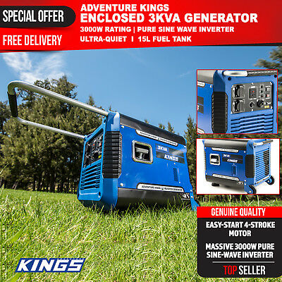 Inverter Generator 3kVA Petrol Pure Sine Wave Rated 3000W Portable Camping