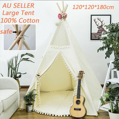 Large Cotton Canvas Kids Teepee Tent Childs Wigwam Indoor Outdoor Play House AU