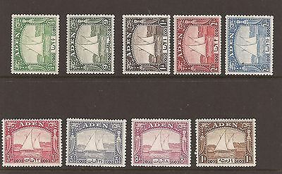 Aden 1937 Dhows short set to 1r lightly mounted mint. sg 1-9