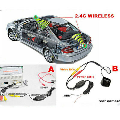 2.4G Wireless Video Transmitter Receiver Kit Car Rear View Camera Reverse Backup