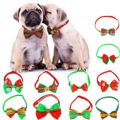 10Pcs Christmas Pet Cat Dog Bows Tie Grooming Accessories Adjustable Gifts Set